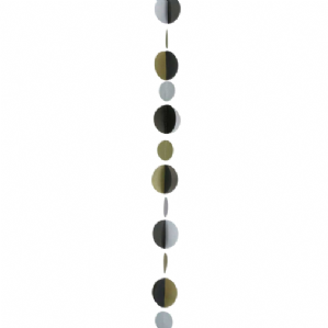 Balloon Tails - Gold Silver Black Circles Balloon Tail (1.2m) | Free Delivery Available